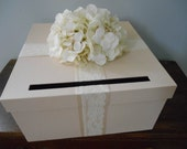 Champagne Wedding Card Box Ivory Lace and Hydrangeas You Customize Colors and Flowers 14 inch Large Wedding