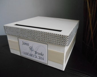 Vintage Glam Wedding Card Box Modern with rhinestones personalized tag You Customize Colors and Flowers Small 9 Inch