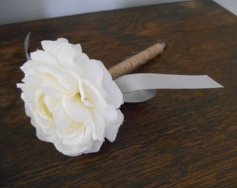 Rustic Guest Book Pen Twine Covered shown White Ranunculus Flower You can Customize Flower Ribbon or Twine