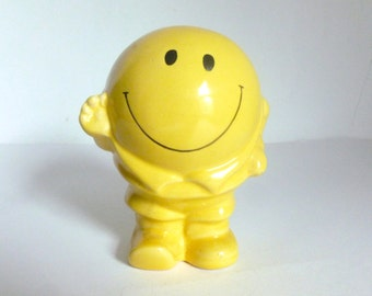 Vintage 1970's Yellow Pottery Smiley Face Piggy Bank