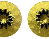 Bright and a Bargain  Genuine Yellow Beryl Matched Pair for SALE  Round Cut, 9.44 carats