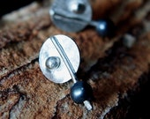 Fused Sterling Silver Disks Post Earrings with Gray Freshwater Pearls, Handmade