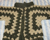 Crochet Hexagon Cardigan in Green Fleck and Sandy Brown 25 percent wool