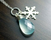 "Ice Blue Chalcedony Snowflake Sterling Silver Necklace - ""Winter's Morn"""