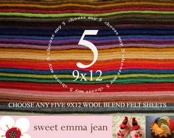 9x12 Wool Felt Sheets - Choose any FIVE wool felt sheets