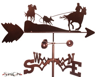 Hand Made Team Roper Cowboy Horse Weathervane NEW