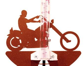 Hand Made Motorcycle Easy Rider Rain Gauge *NEW*