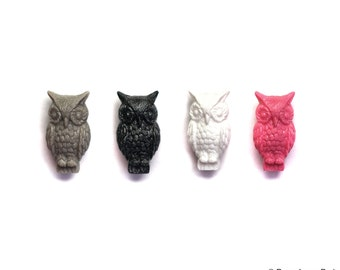 Set of 2 German Detailed Owl Beads Drilled Hole for stringing 16mm x 31mm Pink black gray white