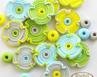 Lampwork Glass Beads, Set of Handmade Flowers Glass Beads and Donuts Beads - FREE SHIPPING - Rachelcartglass