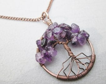 Amethyst Tree of Life Pendant Choose from Copper, Oxidized Copper, Brass or Sterling Silver Gift Boxed