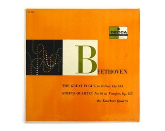 """Anonymous record album design in the style of Erik Nitsche, 1957. """"Beethoven: The Great Fugue & String Quartet"""" LP"""