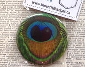 """Peacock feather Small Pocket Mirror 2.25"""" trending bridesmaid or shower gift bird feather"""