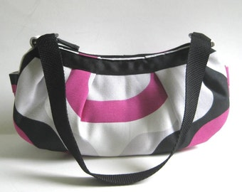 Small Pleated Shoulder Bag in White with Hot Pink, Gray and Black Geometric Shapes