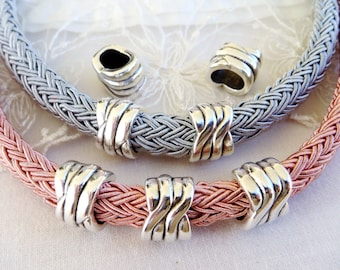 Silver Oval Tube Spacer, Tube Slider for use with 10x6mm Licorice Leather Cord, 12x16x13mm/ H 7x10mm-1 piece