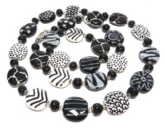 Long Kazuri Bead Necklace, Black and White Abstract Design Necklace