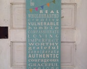 Family Rules Sign Be Real Typography Wall Art Sign by Barn Owl Primitives  - Motivational Inspired by Brené Brown