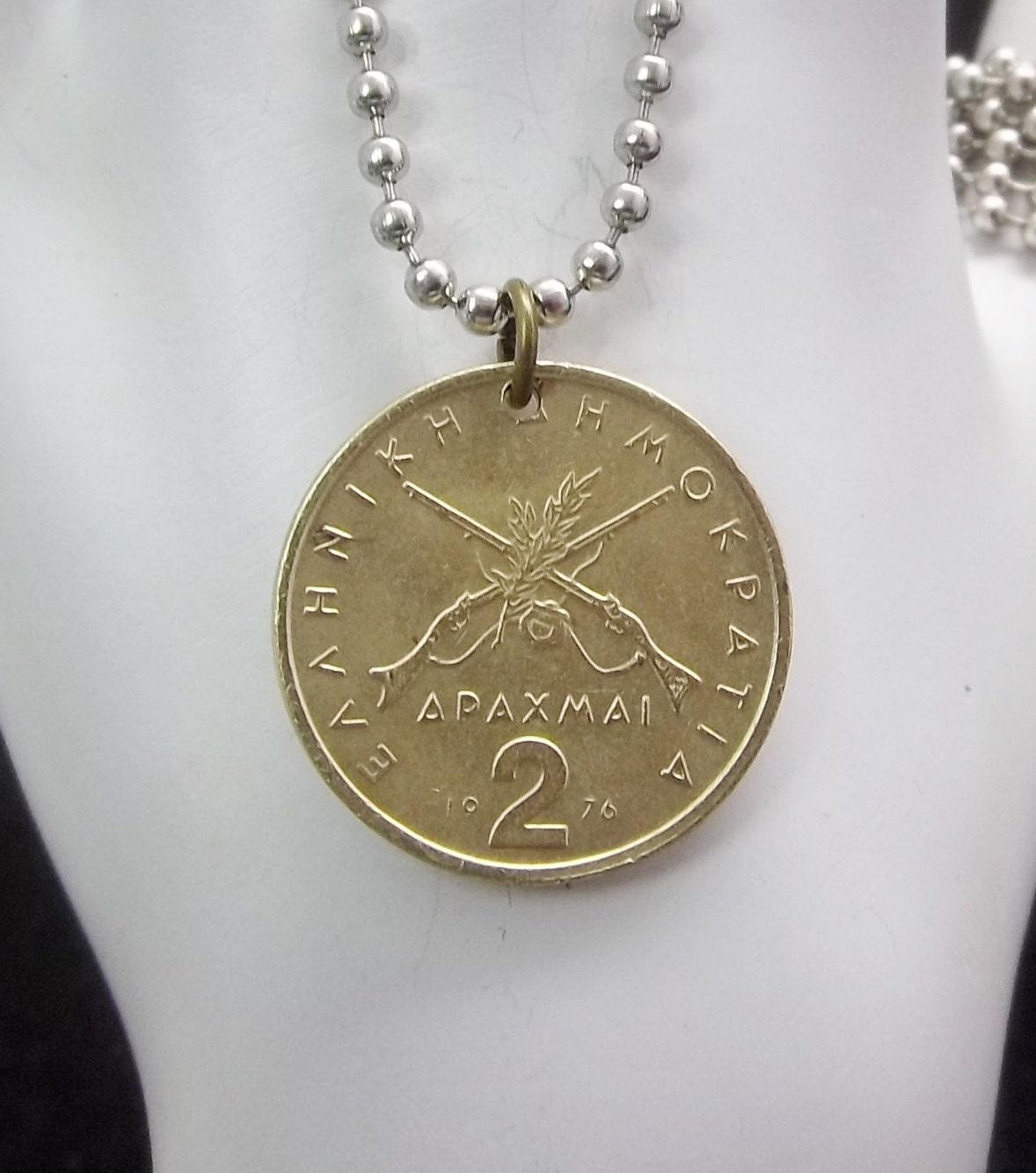 coin necklace 2 drachmai coin pendant s