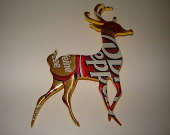 Deer Christmas Ornament made from a Dr. Pepper Soda pop- Can Recycled Soda Can Art