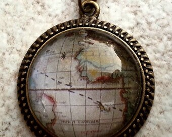 CLEARANCE6-Vintage Globe Glass Cameo pendant in Vintage setting with chain