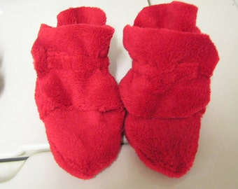 Red Minky baby booties