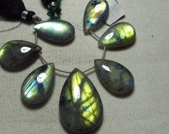 AAA - Amazing Gorgeous  Multy Fire - LABRADORITE - Smooth Polished Pear Briolett Focal Huge size - 14x25 - 23x36 mm - 7 pcs