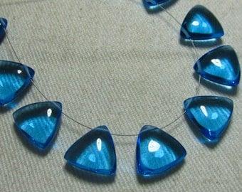 Brand New - 5 Matched Pairs - Sky Blue Colour Quartz -Smooth Trillion Shape Briolettes amazing Gorgeous colour Huge Size 12x12 mm