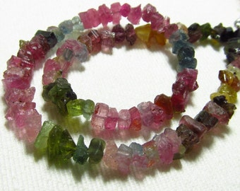 54 / CTW - 11 inches Long full Strand - Natural - Water Melon - TOURMALINE - Hammered Rock Briolettes Drilled size - 6 - 7 mm approx