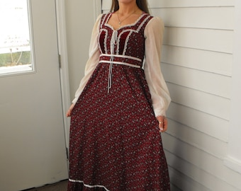 Vintage 70s Gunne Sax Dress Prairie Full Corset Red Floral XS