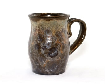 "Crystalline Coffee or Tea Mug, ""Aurora Mist"" Dark Blue Crystals with Microcrystalline Brown ground"