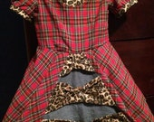 Sibling Coordinating Plaid and Leopard Punk Princess Dress Includes Basic Black Petticoat