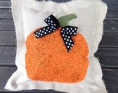 Orange Glitter Pumpkin Pillow 12 X 12 {Fall}