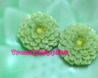 6 pcs Little Round Chrysanthemum Cabochon, Green (S007/Y)