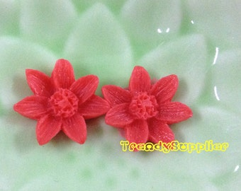 NEW ITEM - 6 pcs 15mm Small Sunflower Cabochons, Red  (S022)
