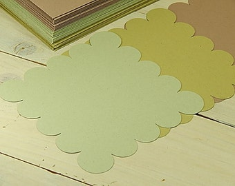 10 x Quality Large Square Scallop Recycled Flat Cards Using Natural Raw Material By-Products 3 Colour Choices