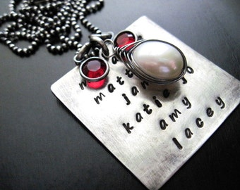Oxidized Sterling Silver Custom Handstamped Necklace, Large Freshwater Pearl, Birthstone Gems