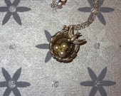 Bird Nest Pendant Necklace, Silver bird nest necklace with glass pearls