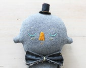 Textile Soft Sculpture Denim Character OOAK Art Doll No.3
