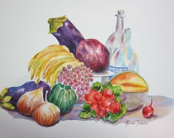 Fruits  & Vegetable Still Life or Pineapple Still Life 11 x 15 Original Watercolor paintings 2 Choices by watercolorsNmore.