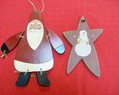Hand Crafted Wooden Santa and Star