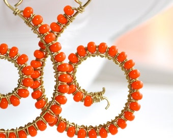 Orange Wire-Wrapped Earrings - 'Unattended Meeting'