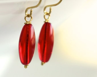 Red Glass Earrings - 'Unsaid'