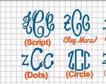 Custom Embroidery Digital Design with Your 3 initial Monogram