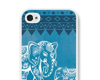 Elephant iPhone 6 Case Elephant iPhone 5 Case Elephant iPhone 5c Case Elephant iPhone 6 Plus Case Elephant Tribal iPhone 5 Case Blue White