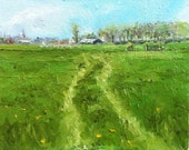 RESERVED  Green field with track Dutch plein air oil paintingj 24 x 30 cm