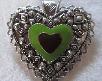 "HEART PENDANT - enamel on metal- focal bead, necklace pendant (1 1/2"")"