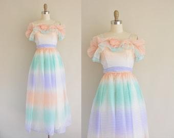 vintage 1960s dress / 60s ombre pastel party dress / 1960s chiffon dress