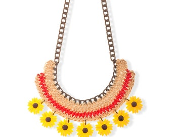 Yellow Daisy Necklace Statement Necklace Multi color Necklace Woven Jewelry Resin Flower Jewelry Every Day Necklace artisan Gift for her