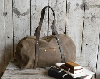 Waxed Canvas Day Bag, Truffle, Waxed Canvas Bag, Zipper Bag, Military Leather, Gift for Dad, Tool Bag, Waxed Canvas Duffle Bag, Gift for Him