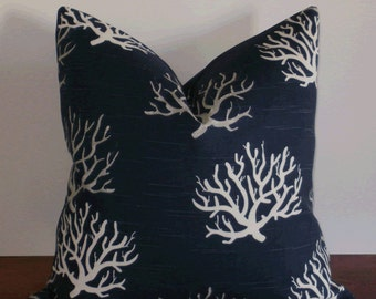SALE ~ Decorative Pillow Cover: Designer Gray and White Coral on Navy Slub Cotton 18 X 18 Accent Throw Pillow Cover
