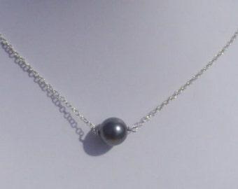 Single Bridesmaid Swarovski Pearl Necklace, 8mm Pearl Necklace, Simple Pearl Necklace, Bridal Wedding Necklace, Sterling Silver Necklace